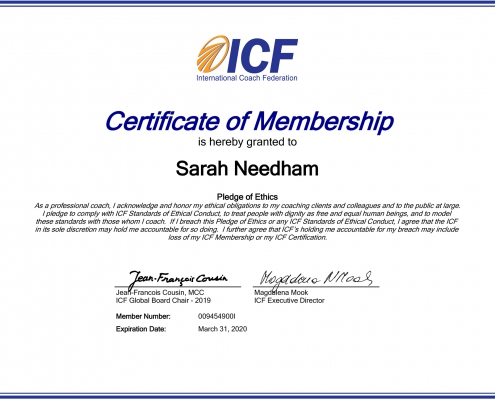 ICF Certificate of Membership Sarah Needham