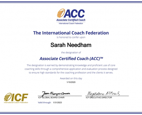 ICF Credential certificate Unique U